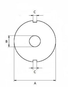Zeichnung Lochscheibe 2 Nuten